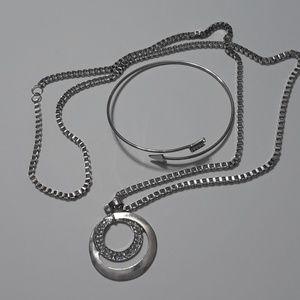 Silver Chain With Pendant And Bracelet Set